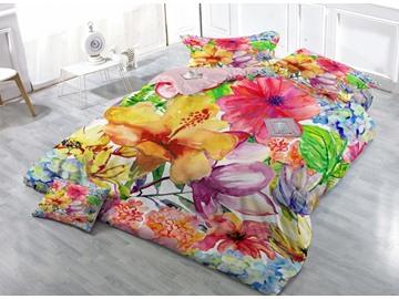 Excellent Watercolor Flower Print Satin Drill 4-Piece Duvet Cover Sets