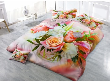 Romantic Pink Rose Print Satin Drill 4-Piece Duvet Cover Sets