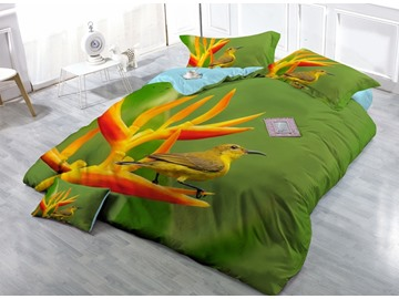 Hummingbird Close-ups Print Satin Drill 4-Piece Duvet Cover Sets