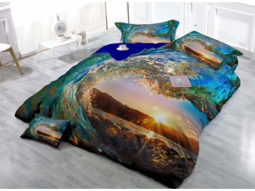 Marvelous Blue Spindrift Print Satin Drill 4-Piece Duvet Cover Sets