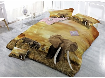 3D Elephant Digital Printing Satin Drill Yellow 4-Piece Duvet Cover Sets