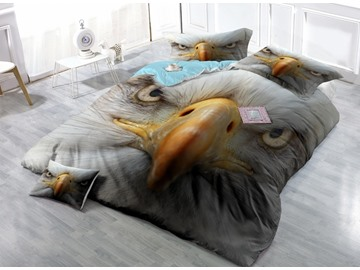 3D Bald Eagle Print Satin Drill 4-Piece Duvet Cover Sets