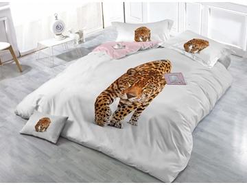 Imperial Leopard Print Satin Drill 4-Piece Duvet Cover Sets