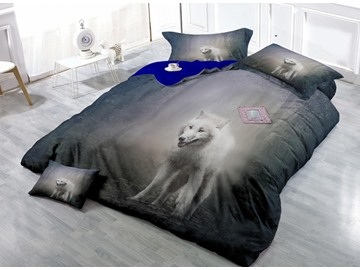 Wild White Wolf in The Woods Wear-resistant Breathable High Quality 60s Cotton 4-Piece 3D Bedding Sets