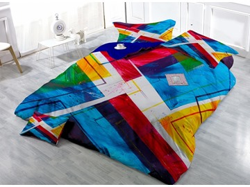 Unique Abstract Design Satin Drill 4-Piece Duvet Cover Sets