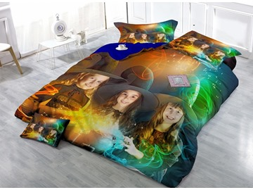 Lovely Little Witches Print Satin Drill 4-Piece Duvet Cover Sets