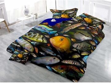 Fish Wear-resistant Breathable High Quality 60s Cotton 4-Piece 3D Bedding Sets