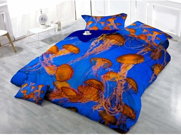Luxury Jellyfish Wear-resistant Breathable High Quality 60s Cotton 4-Piece 3D Bedding Sets