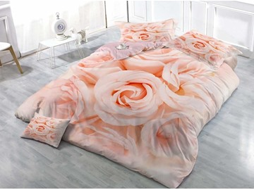 Luxury Pink Roses Wear-resistant Breathable High Quality 60s Cotton 4-Piece 3D Bedding Sets