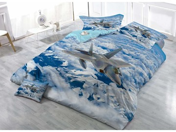 Aircraft Soaring in Blue Sky Wear-resistant Breathable High Quality 60s Cotton 4-Piece 3D Bedding Sets