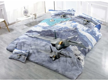 Two Military Aircraft Roaring above Mountains Cotton Luxury 3D Printed 4-Pieces Bedding Sets/Duvet Covers