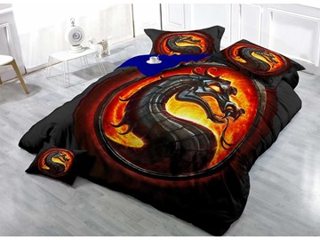 Black Dragon Wear-resistant Breathable High Quality 60s Cotton 4-Piece 3D Bedding Sets
