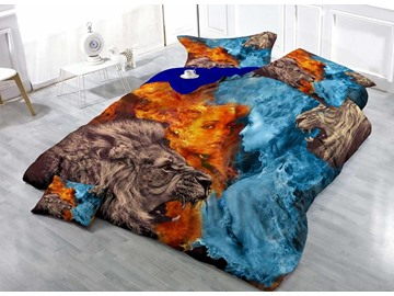 Wild Lion Cotton Luxury 3D Printed 4-Piece Bedding Sets/Duvet Cover