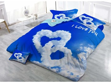 Cloud of Love Shape Cotton Luxury 3D Printed 4-Pieces Bedding Sets/Duvet Covers