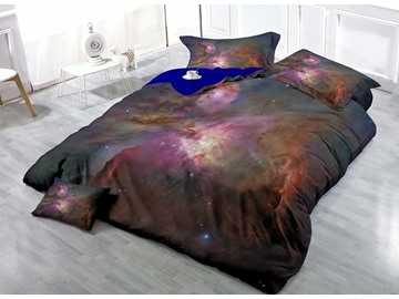 Galaxy and Dazzling Star Wear-resistant Breathable High Quality 60s Cotton 4-Piece 3D Bedding Sets