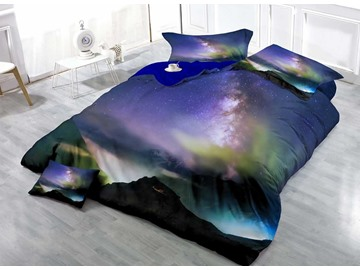 3D Galaxy and Mountain Printed Cotton 4-Piece Bedding Sets/Duvet Covers