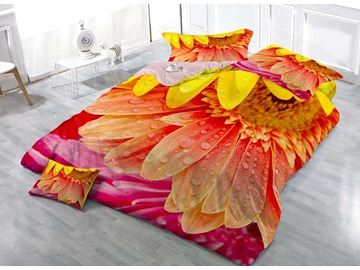 Dewy Sunflower 3D Printed Cotton 4-Piece Bedding Sets/Duvet Covers