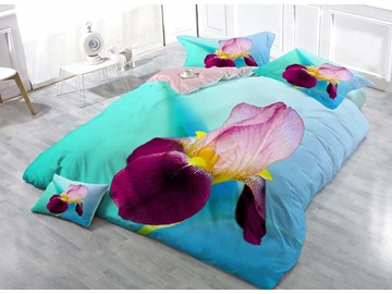 3D Iris Printed Cotton 4-Piece Bedding Sets/Duvet Covers