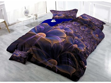 3D Purple Flower Printed Cotton 4-Piece Bedding Sets/Duvet Covers