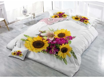 Sunflower White Cotton Luxury 3D Printed 4-Piece Bedding Sets/Duvet Cover