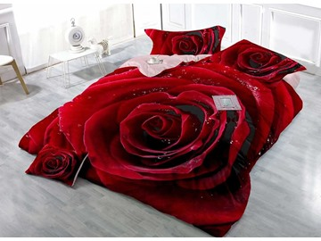 Hot Red Rose Cotton Luxury 3D printed 4-Pieces Bedding Sets/Duvet Covers