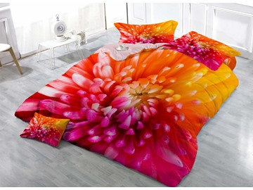Colorful Chrysanthemum Floral Cotton Luxury 3D Printed 4-Pieces Bedding Sets/Duvet Covers