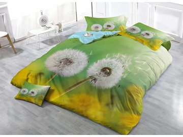 Dandelion Gone With The Wind Wear-resistant Breathable High Quality 60s Cotton 4-Piece 3D Bedding Sets