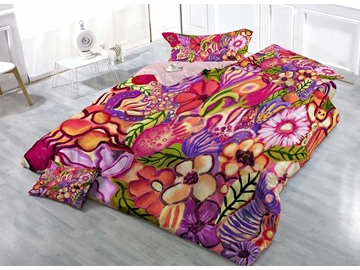Colorful Hand-painted Flowers Cotton 3D Printed 4-Pieces Bedding Sets/Duvet Covers
