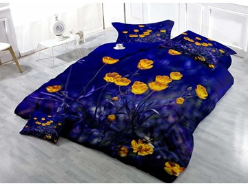 Yellow Tulip in Dark Night Cotton Luxury 3D Printed 4-Pieces Bedding Sets