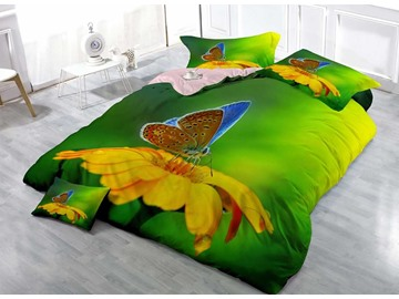 Butterfly and Yellow Flower Wear-resistant Breathable High Quality 60s Cotton 4-Piece 3D Bedding Sets