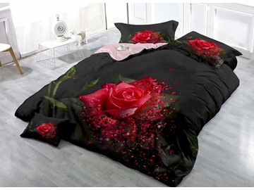3D Printed Hot Red Floral Rose Cotton Luxury 4-Pieces Bedding Sets/Duvet Covers