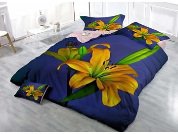 Yellow Lily Cotton Luxury 3D Printed 4-Piece Bedding Sets/Duvet Cover