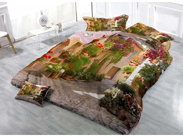 3D Alley of Flowers Printed Cotton 4-Piece Bedding Sets/Duvet Covers