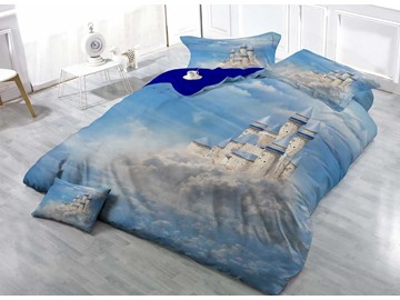 White Castle in the Clouds Wear-resistant Breathable High Quality 60s Cotton 4-Piece 3D Bedding Sets