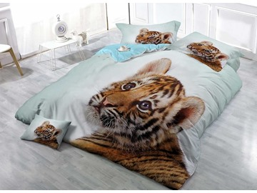 Sprouting Baby Tiger Wear-resistant Breathable High Quality 60s Cotton 4-Piece 3D Bedding Sets