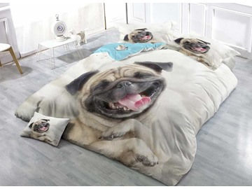 3D Pug Dog Printed Cotton 4-Piece Bedding Sets/Duvet Covers