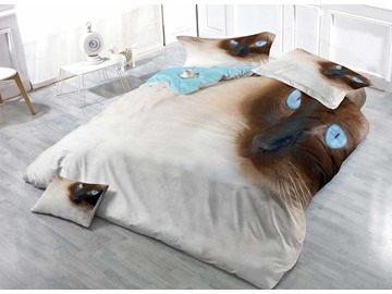 Siamese Cat Face Cotton 4-Piece Bedding Sets/Duvet Covers