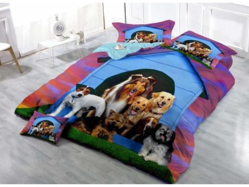 3D Dogs Digital Printing Cotton 4-Piece Bedding Sets/Duvet Covers