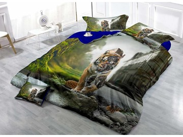 Biomechanical Cyborg Tiger Digital Printing Cotton 4-Piece Bedding Sets/Duvet Covers