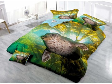 Swimming Sea Lion Wear-resistant Breathable High Quality 60s Cotton 4-Piece 3D Bedding Sets