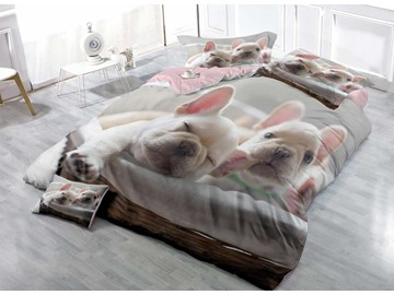 3D French Bulldog Light Grey Printed Cotton 4-Piece Bedding Sets/Duvet Covers