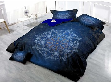 3D Medallion Digital Printing Cotton 4-Piece Bedding Sets/Duvet Covers