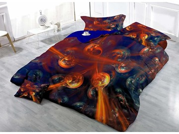 Flaring Balls Luxury Wear-resistant Breathable High Quality 60s Cotton 4-Piece 3D Bedding Sets