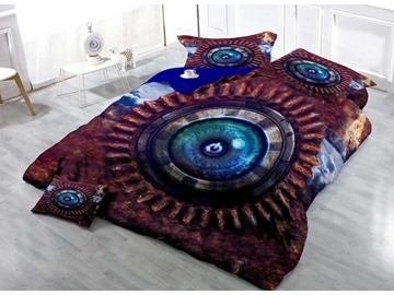 3D Cyber Technology Eye Button Printed Cotton 4-Piece Bedding Sets/Duvet Covers