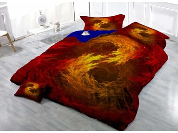 3D Golden Red Flame Printed Cotton 4-Piece Bedding Sets/Duvet Covers
