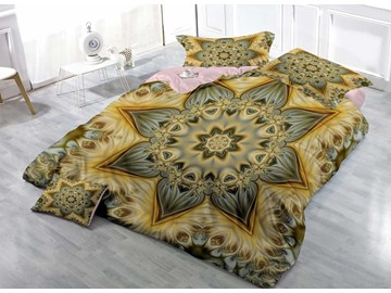 Golden Floral Wear-resistant Breathable High Quality 60s Cotton 4-Piece 3D Bedding Sets