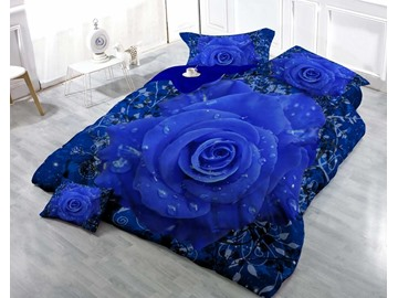 Romantic Blue Rose Luxury Wear-resistant Breathable High Quality 60s Cotton 4-Piece 3D Bedding Sets