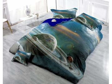 3D Interplanetary Orbit Printed Luxury Cotton 4-Piece Bedding Sets/Duvet Cover