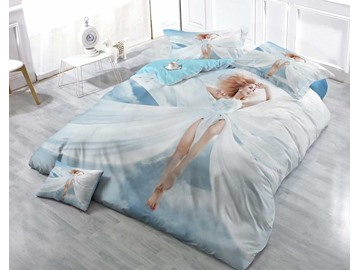 Blonde Sexy Angel Wear-resistant Breathable High Quality 60s Cotton 4-Piece 3D Bedding Sets