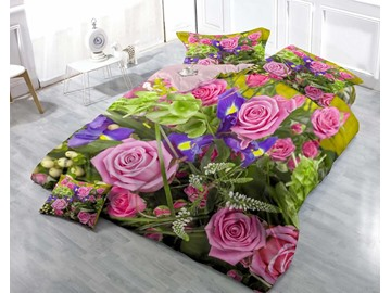 Pink Roses in The Garden Wear-resistant Breathable High Quality 60s Cotton 4-Piece 3D Bedding Sets